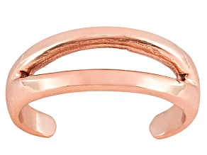 Polished 18k Rose Gold Over Sterling Silver Split Toe Ring