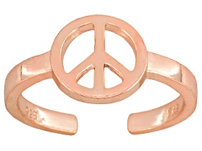 Peace Sign Polished 18k Rose Gold Over Sterling Silver Toe Ring