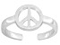 Peace Sign Polished Sterling Silver Toe Ring