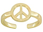 Peace Sign Polished 18k Yellow Gold Over Sterling Silver Toe Ring