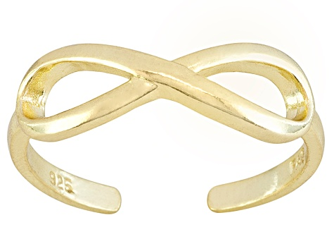 Polished 18k Yellow Gold Over Sterling Silver infinity Toe Ring