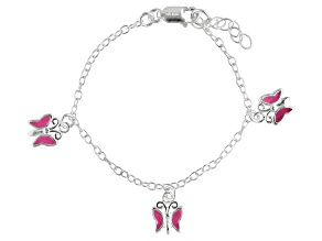 Pink Enamel Butterfly Sterling Silver 5 inch Adjustable Children's Charm Bracelet