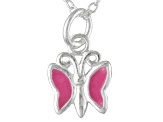 Pink Enamel Butterfly Sterling Silver 14 inch Adjustable Children's Necklace