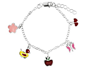 Multi-Color Enamel Assorted Charms Sterling Silver 5 inch Adjustable Children's Bracelet