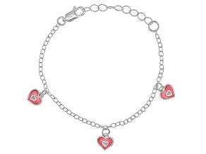 Pink Enamel Heart Sterling Silver 5 inch Adjustable Children's Charm Bracelet