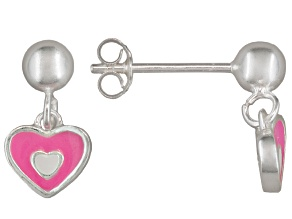 Pink Enamel Heart Sterling Silver Children's Dangle Earrings