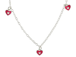 Pink Enamel Heart Sterling Silver 14 inch Adjustable Children's Necklace