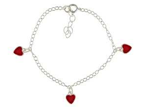 Red Enamel Heart Sterling Silver 5 inch Adjustable Children's Charm Bracelet
