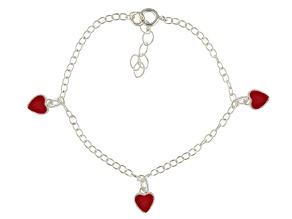 Red Enamel Heart Sterling Silver 5 inch Adjustable Children's Charm Bracelet