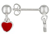 Red Enamel Heart Sterling Silver Children's Dangle Earrings