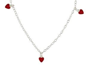 Red Enamel Heart Sterling Silver 14 inch Adjustable Children's Necklace