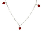 Red Enamel Heart Sterling Silver 14 inch Adjustable Children's Necklace
