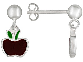 Red Enamel Apple Sterling Silver Children's Dangle Earrings