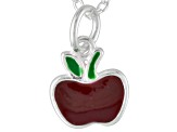 Red Enamel Apple Sterling Silver 14 inch Adjustable Children's Necklace