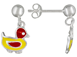Multi-Color Enamel Duck Sterling Silver Children's Dangle Earrings