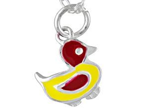 Multi-Color Enamel Duck Sterling Silver 14 inch Adjustable Children's Necklace