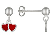 Red Enamel Double Heart Sterling Silver Children's Dangle Earrings