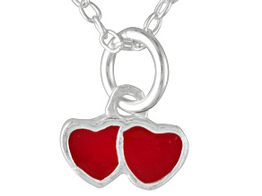 Red Enamel Double Heart Sterling Silver 14 inch Adjustable Children's Necklace