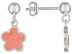Pink Enamel Floral Design Sterling Silver Children's Dangle Earrings