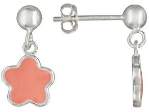 Pink Enamel Floral Design Sterling Silver Children's Dangle Earrings
