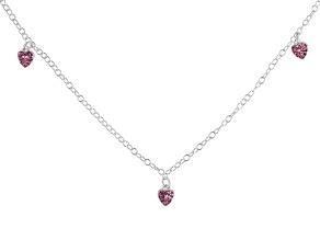 Pink Crystal Heart Sterling Silver 14 inch Adjustable Children's Necklace