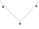 Pink Crystal Heart Sterling Silver 14 inch Adjustable Children's Necklace