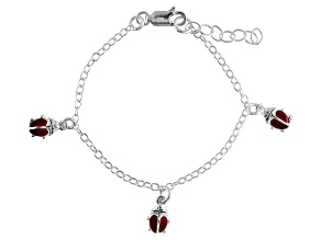 Red Enamel Ladybug Sterling Silver 5 inch Adjustable Children's Charm Bracelet