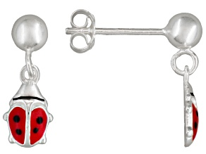 Red Enamel Ladybug Sterling Silver Children's Dangle Earrings