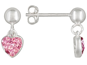 Pink Crystal Heart Sterling Silver Children's Dangle Earrings