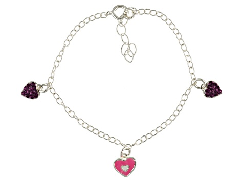 Purple Crystal & Pink Enamel Heart Sterling Silver 5 inch Adjustable Children's Charm Bracelet