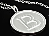 "Initial ""B"" Sterling Silver Pendant With 18 inch Chain"