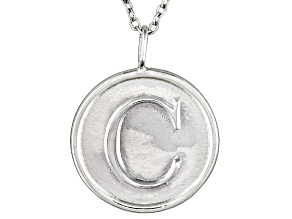 Initial C Sterling Silver Pendant With 18 inch Chain