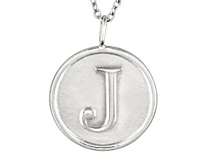 Initial J Sterling Silver Pendant With 18 inch Chain