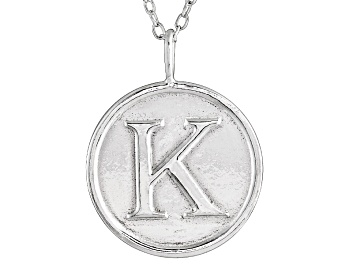 Picture of Initial K Sterling Silver Pendant With 18 inch Chain