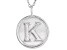 Initial K Sterling Silver Pendant With 18 inch Chain