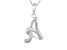Script initial A Polished Sterling Silver Pendant With 18 inch Chain