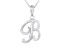 Script initial B Polished Sterling Silver Pendant With 18 inch Chain