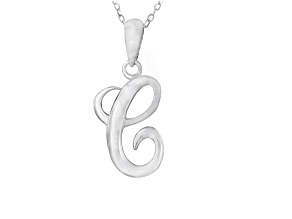 Script initial C Polished Sterling Silver Pendant With 18 inch Chain