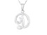 Script initial D Polished Sterling Silver Pendant With 18 inch Chain