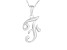 Script initial F Polished Sterling Silver Pendant With 18 inch Chain