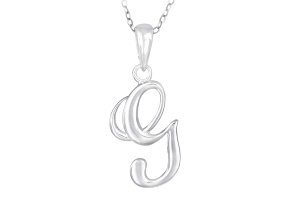 Script initial G Polished Sterling Silver Pendant With 18 inch Chain