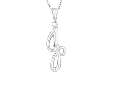 Script initial J Polished Sterling Silver Pendant With 18 inch Chain