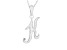 Script initial K Polished Sterling Silver Pendant With 18 inch Chain