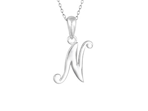 Script initial N Polished Sterling Silver Pendant With 18 inch Chain