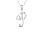 Script initial P Polished Sterling Silver Pendant With 18 inch Chain