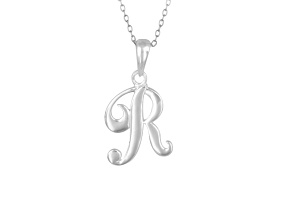 Script initial R Polished Sterling Silver Pendant With 18 inch Chain