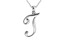 Script initial T Polished Sterling Silver Pendant With 18 inch Chain