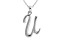 Script initial U Polished Sterling Silver Pendant With 18 inch Chain