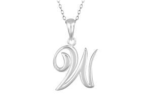 Script initial W Polished Sterling Silver Pendant With 18 inch Chain
