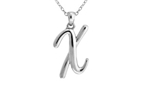 Script initial X Polished Sterling Silver Pendant With 18 inch Chain